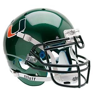 NCAA Miami Hurricanes Authentic XP Football Helmet, Green by Schutt