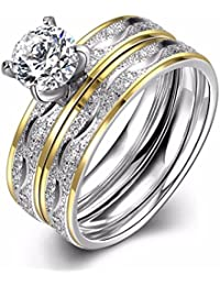 NEVI 2 In 1 Ring Stainless Steel Zirconia 18k Gold Plated Ring For Women And Girls