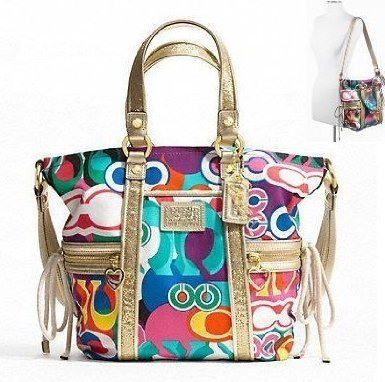 Authentic Coach Daisy Poppy C Print Pocket Tote Convertible Shoulder Bag 21361