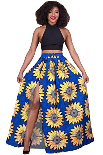 Maxwell Women's African Sunflower Printed High Split Print Long Maxi Skirt ((US 4-6)S, yellow blue) (Long Split Maxi Skirt compare prices)