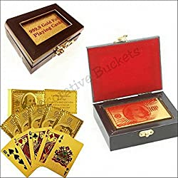 Decorative buckets : DIWALI GIFTS :GOLD PLAYING CARDS WITH WOODEN BOX.