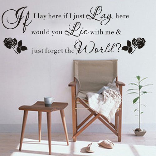 """Colorfulhall 23.6"""" X 59.1"""" If I Lay Here If I Just Lay Here, Would You Lie With Me Wall Saying Qutes Removable Wall Sticker Diy Vinyl For Home Children Room Bedroom Studio School Playroom front-608742"""