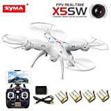 Cheerwing® 4 Batteries Syma X5SW FPV Explorers2 2.4Ghz 4CH 6-Axis Gyro RC Headless Quadcopter Drone UFO with 2MP HD Wifi Camera (White + 4 Batteries)