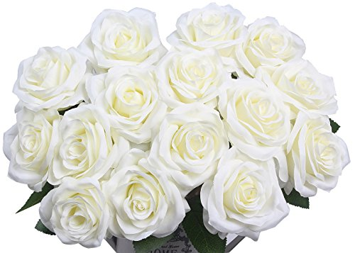 Artificial Flowers AmyHomie Silk Roses Bouquet Home Wedding Decoration Pack of 15 (15, White)