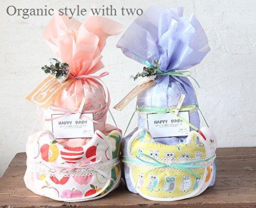 北欧オーガニックスタイ 2枚 春の新色 桜色  (S, アップル×レモン) おむつケーキ 双子