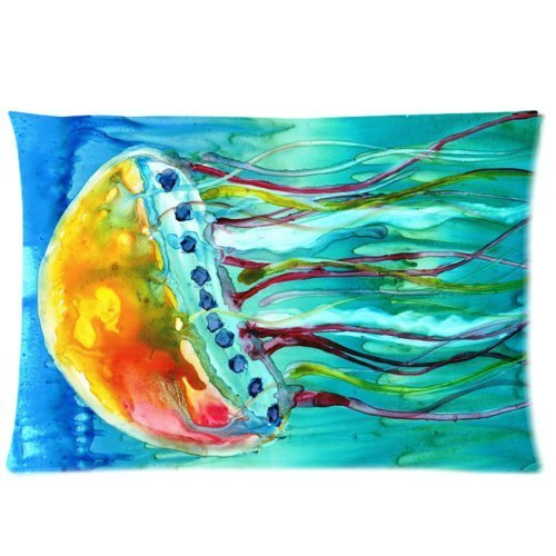 Mina-Shop Jellyfish Jelly Fish Painting One Side Polyester Pillowcase 20x30 Inch