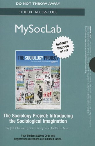 NEW MySocLab with Pearson eText -- Standalone Access Card -- for The Sociology Project: Introducing the Sociological Imagination (Rent Mastering Sociology compare prices)