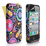 Jellyfish Patterned Multicoloured Silicone Gel Case Cover For Apple iPhone 4/4S With Screen Protector Film