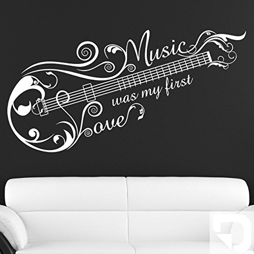 DESIGNSCAPE-Wandtattoo-Music-Love-Ornament-Music-was-my-first-love-Gitarre