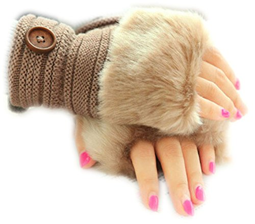 Nasis Fingerless Design Thumb Hole Winter Knitted