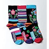 United Oddsocks – Izzy – 3 verrückte Damensocken – 3 Socken = 3 Kombis