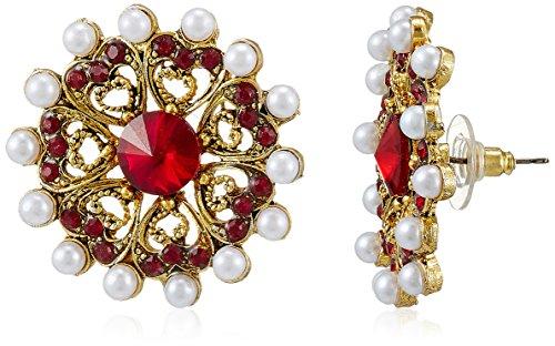 Sia Sia Art Jewellery Stud Earrings For Women (Golden And Red) (AZ1890) (Multicolor)