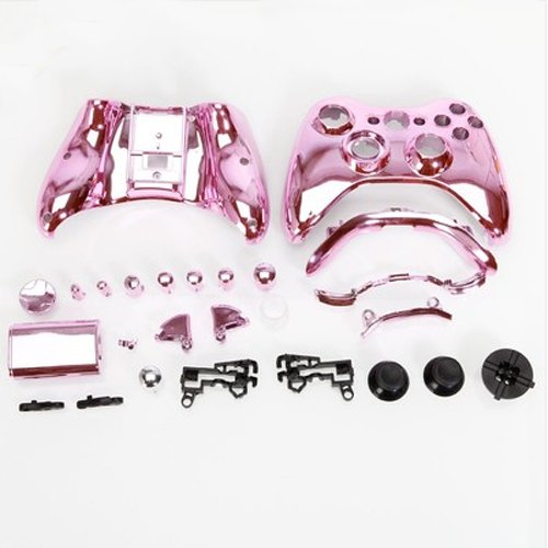 Chrome Plating Pink Full Shell Case + Button For Xbox360 Wireless Controller