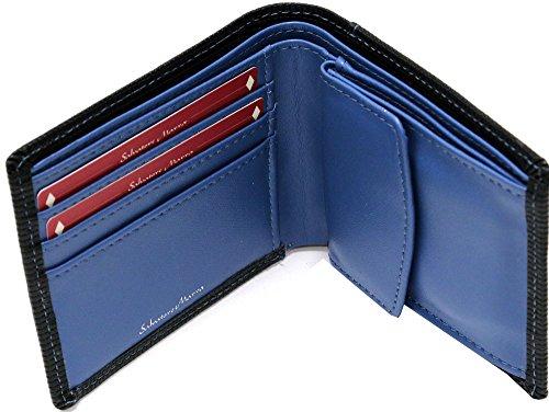 (サルバトーレマーラ) Salvatore Marra 財布 メンズ 二つ折り 革 牛革 ステッチ インナーカラー 型押しレザー 5color Free ネイビー