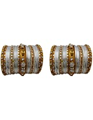Bridal Chura White Wedding Bangles Chuda By My Design(size-2.4)