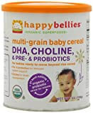 Happy Bellies Organic Baby Cereals with DHA Plus Pre and Probiotics, Multigrain, 7-Ounce Canisters (Pack of 6)