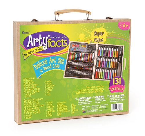 Darice 131-Piece Premium Art Set with Wood Box