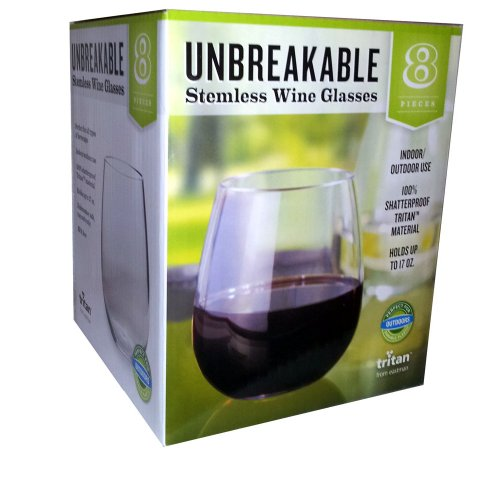 Tritan Unbreakable Stemless Wine Glasses Set of 8