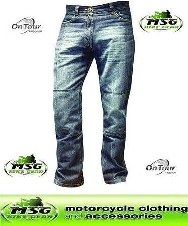 OnTour Pantalon moto Jean Kevlar Bleu Taille 38 Jambe 31 Genouillères de protection