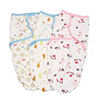 Blulu 3 Pack Swaddle Blanket Wrap Set Pink Car/ Yellow Fish/ Bird Tree Pattern Swaddle Blanket