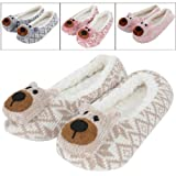 Ladies Cosy Knitted Fair Isle Full Slippers With Cute 3D Bear Face On The Toe
