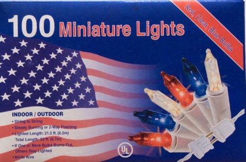 100 RED WHITE BLUE Lights Minature July 4th Christmas Mini I