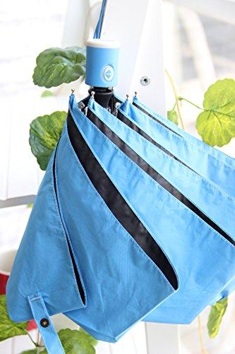 tin.o.o 日傘 UVカット 晴雨兼用 自動開閉 折り畳み傘 レディース 女性用 完全遮光 遮熱 耐風 おしゃれ な 蛍光色 ファッション 6本骨 直径98cm (ブルー)