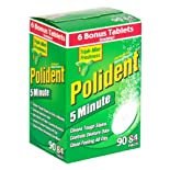 Polident 5 Minute Anti-Bacterial Denture Cleanser, Triple Mint Freshness, Bonus, 90 ct.