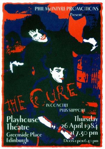 Poster del concerto dei The Cure a Edimburgo del 26 aprile 1984, riproduzione, dimensioni approssimative 297 x 420 mm