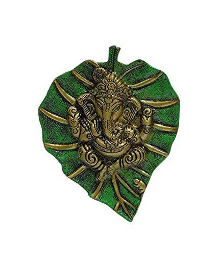 Odishabazaar Green And Gold Patta Ganesh Wall Hanging