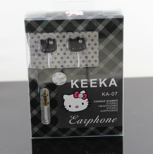Cute Hello Kitty Techno Noise Cancelling Stereo In-Ear Earphone Headphone (Black)