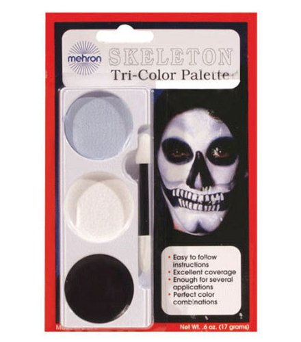 [Mehron Tri-Color Make Up Kit Skeleton] (Skeleton Makeup)