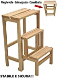 Stool chair Scale Ladder 3Steps Folding Space Saving Wood Natural or Walnut Color natural