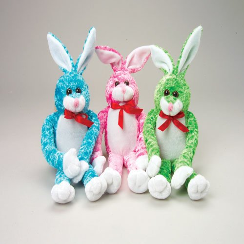 Red Bow Tie Assorted Color Floppy Plush Stuffed Easter Bunny - 1