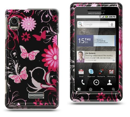 Pink Butterfly Flower on Black Motorola Droid 2 A955 Premium Phone Protector Hard Cover Case + Screen Protector + Bonus 5.5 inch Baby Blue Phone Cleaning Cloth