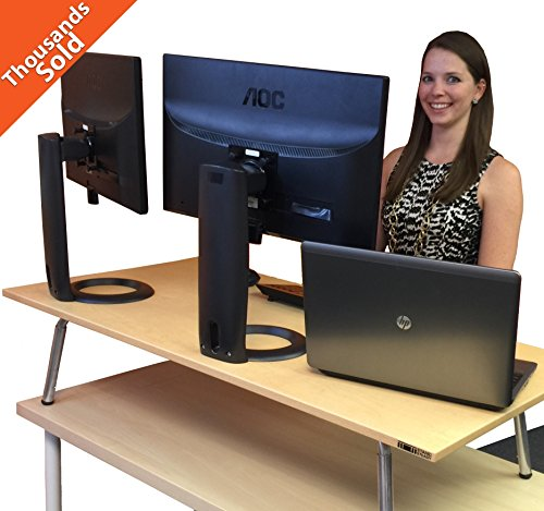 Mega Stand Steady Standing Desk / Stand up Desk - Largest Standing Desk Converter Available (Maple)