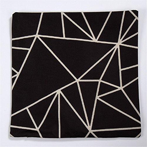 NITAN Baumwolle Leinen Dekokissen Fall Quadratisch Sofa Auto Dekorative Kissenbezug Kissenhülle 45 x 45cm - Geometrische Muster Dreieck Viereck (Schwarz) -