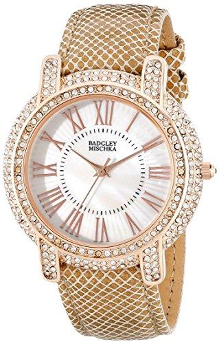 badgley-mischka-womens-ba-1354wmcm-swarovski-crystal-accented-rose-gold-tone-and-khaki-leather-strap