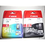 2 Original XL Drucker Patronen für Canon Pixma MX515 515 (PG-540XL Black/CL-541XL Color) Tintenpatronen + incl. 10 Blatt Fotopapier 10x15cm (240g/m²)