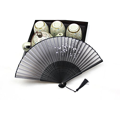 Weixinbuy Classic Chinese Folding Hand Fan Silk Bamboo Flower Butterfly Pocket Fan