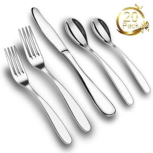ONSON 20-Piece Flatware Set,Stainless Steel Dinnerware,Steel Mirror Polishing,Multipurpose Use for Kitchen,Hotel,Restaurant (Cutlery Service for 4,20-Piece) (Dinnerware Sets Service For 10 compare prices)