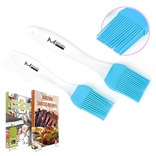Great Features Of mKitchen Blue Silicone Basting Pastry Oil Brush Set of 2 - 2 Recipe eBooks - Good ...