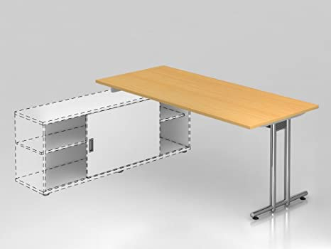 Coltivazione scrivania piede a T, 180x 80cm, Faggio/Argento