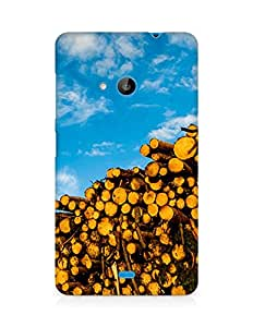 Amez designer printed 3d premium high quality back case cover for Microsoft Lumia 535 (Blue sky and wood)