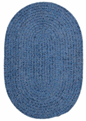 Kids American Made Textured Rug 2-Feet by 3-Feet Oval Petal Blue Carpet