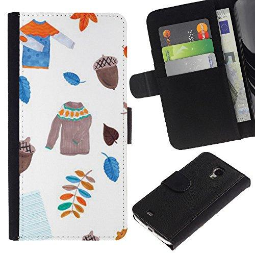 GIFT CHOICE / Smartphone Leather Wallet Case Portafoglio in pelle Caso Cover protettiva Cassa Custodia per Samsung Galaxy S4 Mini i9190 // Leavers maglione bianco Acorn //