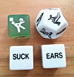 Novelty 12 Sided Erotic Adult Dice Toys Couple Game and Glow in the Dark Erotic Dice (Set of 4)
