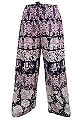 Indiatrendzs Women Pant Animla Print Rayon Purple Evening Wear Yoga Harem Pants