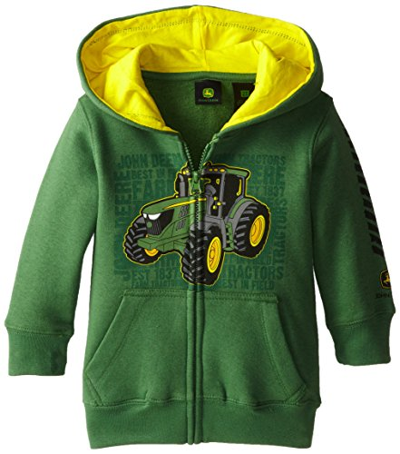 John Deere Little Boys' Tractor Fleece Zip Hoodie, Green, 3T front-366161