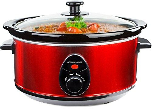 Andrew-James-35L-Premium-Schongarer-In-Rot-Mit-Sicherheitsglas-Und-Entnehmbarer-Innerer-Keramikschssel-3-Temperaturstufen-2-Jahre-Garantie
